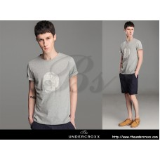 Lilbetter Cotton Round Neck Gray Skull Embroidery Tee