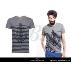 SELECTED Men Round Neck Navy striped Gray Tee