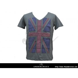 TheUndercroxx 3060S Britain Flag V neck Grey Tee