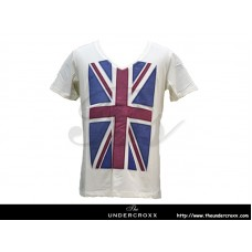 TheUndercroxx 3060S Britain Flag V neck White Tee