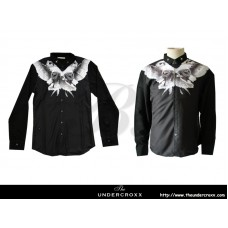 TheUndercroxx 6061L x Star Iron Collar x Owl Print Black Shirt