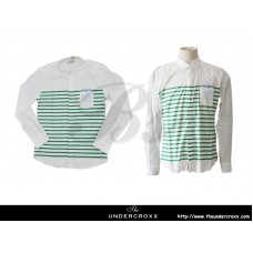 TheUndercroxx 6038L x Green Stripe White Shirt