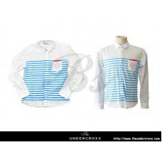 TheUndercroxx 6038L x Blue Stripe White Shirt