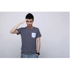 TheUndercroxx 3095S Pocket Anchors Print Stripe Tee